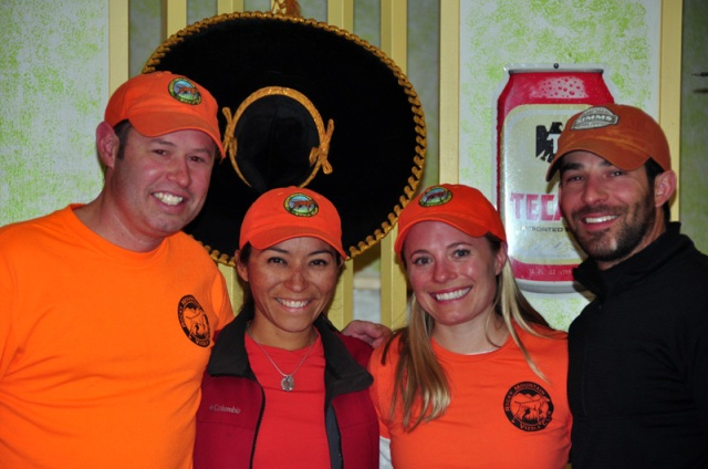 Pictured left to right - Aaron, Mel, Erica, Spencer - enjoying a local restaurant after hunting pheasant in NE Colorado