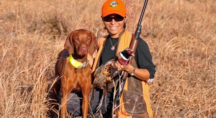 Amante and Mel hunting wild pheasant in eastern Colorado